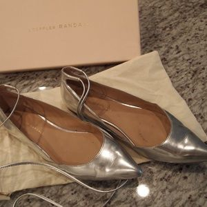 Loeffler Randall Silver Flats with Ankle Wrap  - 8